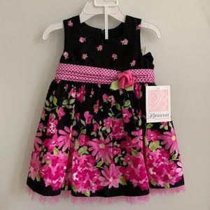 NWT! Bonnie Baby Floral Dress, Black + Pink, 18M